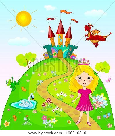 Little princess goes on a footpath. Landscape with the castle trees and flowers. Fairy dragon swan and frog.