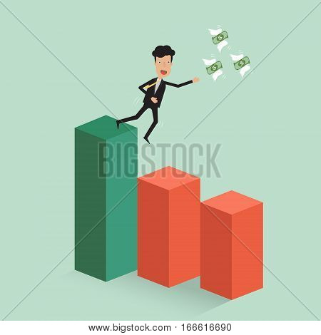 Businessman catch the money banknote flying with wing on stock graph fall down the risk red zone. Vector illustration business concept of stock market conceptual design.
