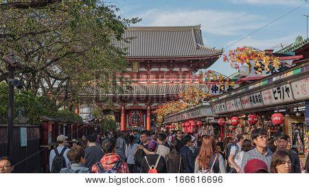 TOKYO  , JAPAN - OCTOBER 12 ,2016 : Nakamise shopping street in Asakusa . Walkway shopping road to Senso-ji Temple.