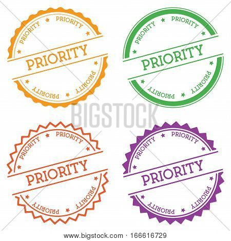 Priority Badge Isolated On White Background. Flat Style Round Label With Text. Circular Emblem Vecto