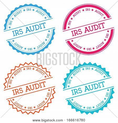 Irs Audit Badge Isolated On White Background. Flat Style Round Label With Text. Circular Emblem Vect