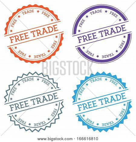 Free Trade Badge Isolated On White Background. Flat Style Round Label With Text. Circular Emblem Vec