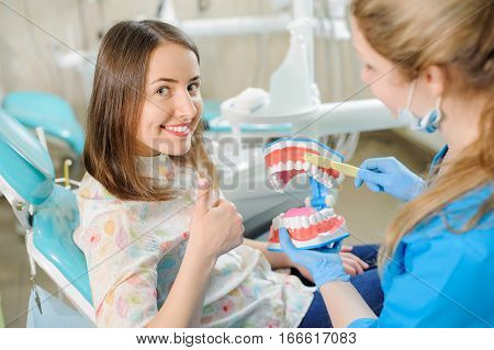 Dentist Showing Dental Jaw Model To Patient In Dentist's Clinic