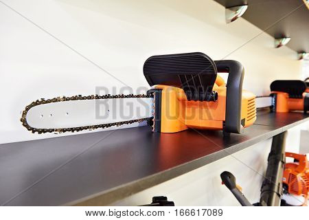 Chain Saw On Shelf In Store