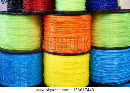 The colorful trimmer line cord in warehouse