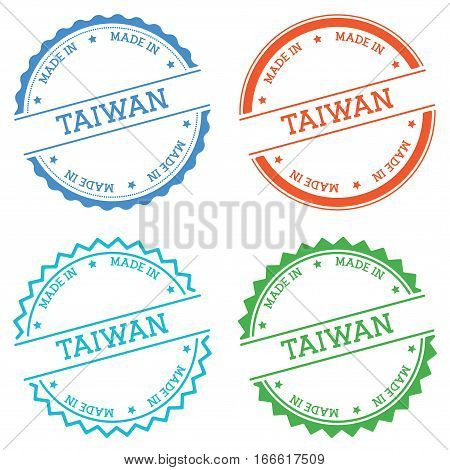 Made In Taiwan Badge Isolated On White Background. Flat Style Round Label With Text. Circular Emblem