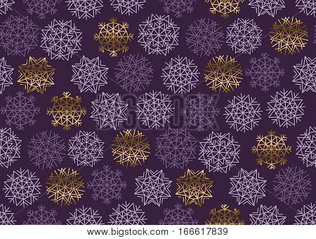 Christmas snowflakes seamless pattern. New Year festive geometric pattern swatch vector illustration. repeatable geometry modern motif