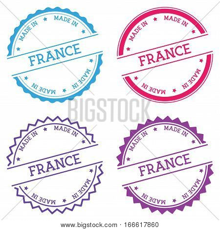 Made In France Badge Isolated On White Background. Flat Style Round Label With Text. Circular Emblem