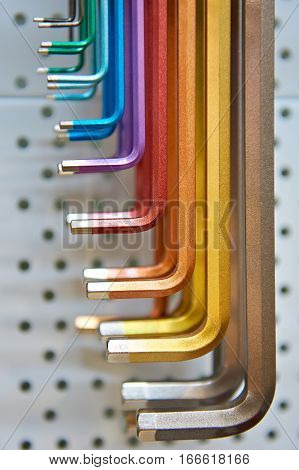 The colorful hex key set the closeup