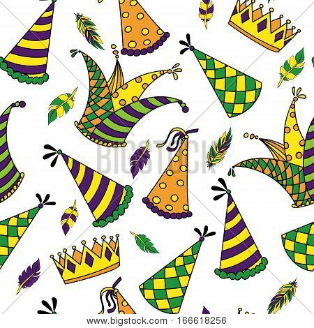 Mardi Gras seamless pattern. Colorful background with carnival hats and jester s hat, crowns, feathers and ribbons. Vector illustration
