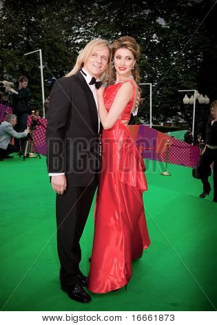 MOSCOW - JUNE,17: Russian actress Anastasia Makeeva and Gleb Matveichuk. Opening Ceremony Of 32st Moscow International Film Festival at Pushkinsky Cinema . June 17, 2010 in Moscow, Russia.
