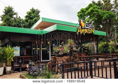 Prachin Buri THAILAND - Dec 15 : Cafe Amazon beverage shop at PTT Oil station on Dec 15 2016 in Prachin Buri THAILAND. It's a famous Thai franchise coffee house in Thailand.