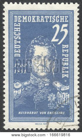 MOSCOW RUSSIA - CIRCA DECEMBER 2016: a post stamp printed in DDR the series