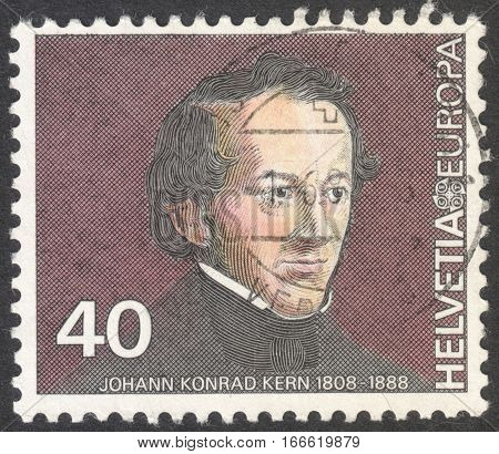 MOSCOW RUSSIA - CIRCA DECEMBER 2016: a post stamp printed in SWITZERLAND shows Johann Conrad Kern (1808-88) politician the series