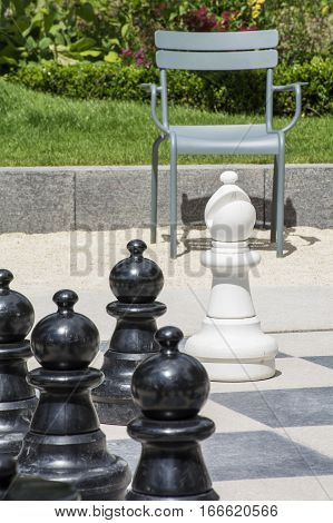 Several black chessmen and white bishop on the street chessboard with chair and green grass as background