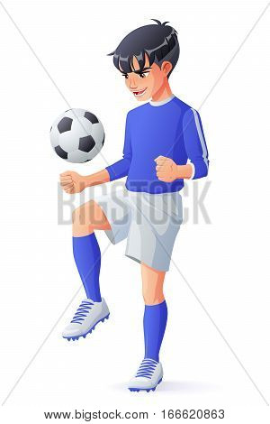 Cute young football or soccer player boy in blue uniform juggling with ball. Cartoon vector illustration isolated on white background.