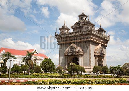 Patuxai monument in Vientiane, Laos poster
