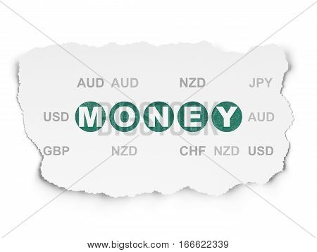 Money concept: Painted green text Money on Torn Paper background with  Currency