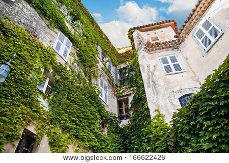 Historical building with green plant vegetation. In Eze Village France. Summer in Europe.