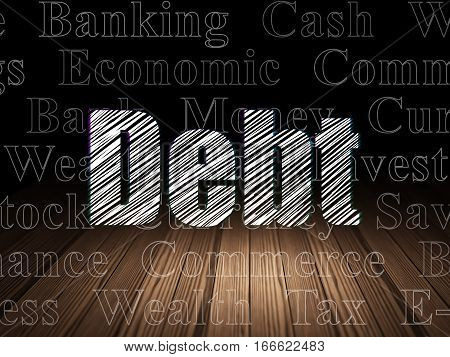 Banking concept: Glowing text Debt in grunge dark room with Wooden Floor, black background with  Tag Cloud