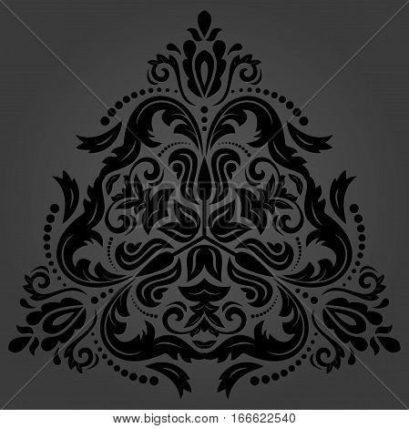 Oriental vector dark triangular pattern with arabesques and floral elements. Traditional classic ornament. Vintage pattern with arabesques