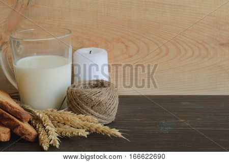 Milk and bread as healthy and simple food traditional treat for imbolc pagan wicca celtic holiday