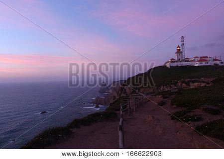 Dusk at the lighthouse da Roca Cascais Lisboa region Portugal
