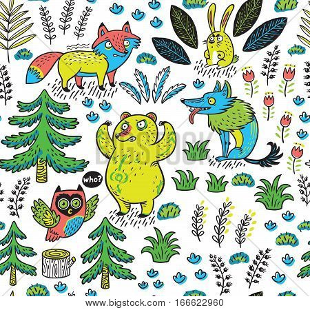 Enchanted forest. Vector colorful seamless pattern with crazy animals. Funny background with cartoon fox, bear, wolf and owl