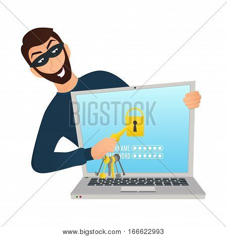 Concept of hacker criminal activity. Cartoon man breaking laptop account. Vector character isolated on white background