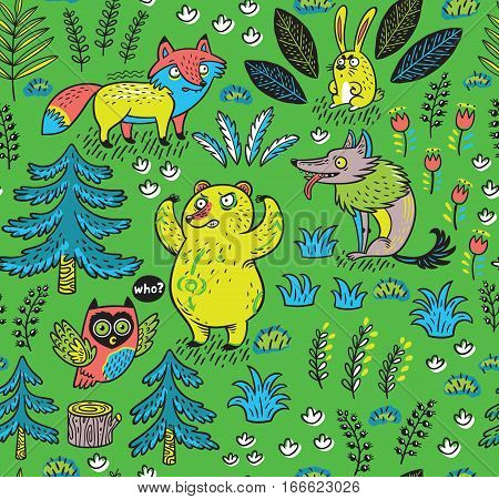 Enchanted forest. Vector colorful seamless pattern with crazy animals. Funny cartoon fox, bear, wolf and owl on green background
