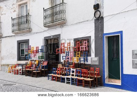 Craft shop in chairs in the village of Redondo Alentejo region Portugal