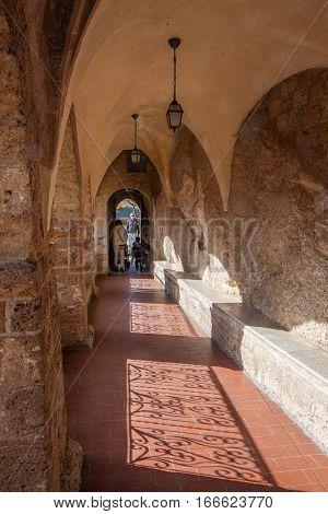 Subiaco Italy - November 09 2014: A narrow corridor in a monastery of St. Benedict in Subiaco