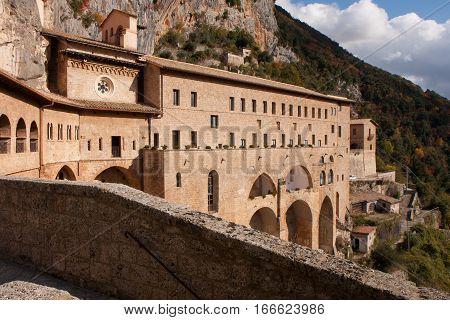 Subiaco Italy - November 09 2014: Saint Benedict Abbey in Subiaco