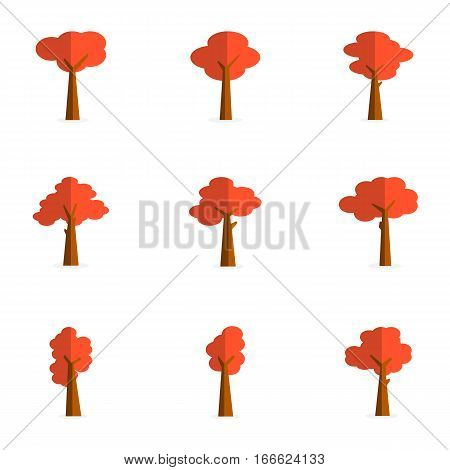 vector flat of red tree collection stock