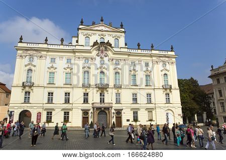 PRAGUE SEPTEMBER 15: Archbishop's Palace on the Castle Square near the main entrance in The Prague Castle on September 15 2014 in Prague Czech Republic.