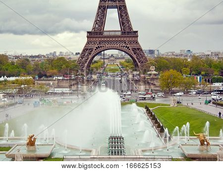 View On The Eiffel Tower And Working Fountains Of Trocadero. Paris, France