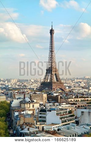 View On The Eiffel Tower From Triumphal Arch. France, Paris.