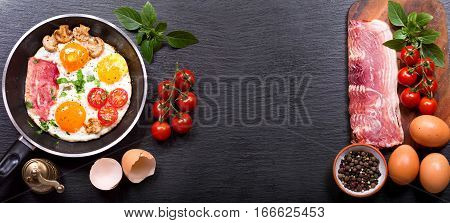 Breakfast With Fried Eggs In A Pan