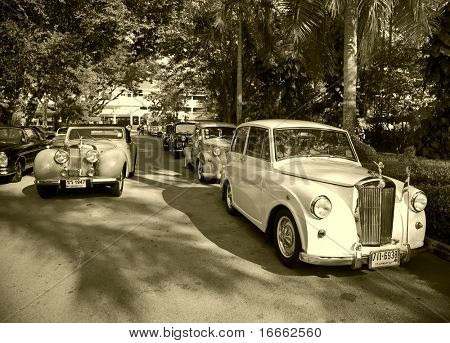 HUA HIN - DECEMBER 18: Triumph 1800 Roadster, 1940 year and Triumph Mayflower, 1953 year. Retro Car on Vintage Car Parade 2010 at Sofitel Resort on December 18, 2010 in Hua Hin, Thailand.