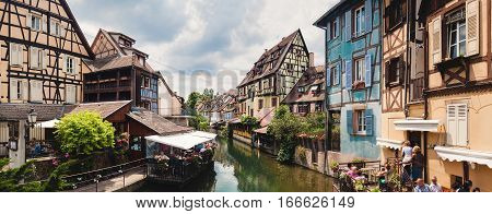 Panoramic View On Canal In Petite Venice Neighborhood Of Colmar, France