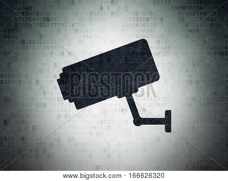 Privacy concept: Painted black Cctv Camera icon on Digital Data Paper background