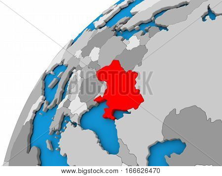 Ukraine On Globe In Red