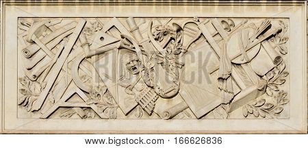 Liberal Arts education relief on marble panel in People's Square in Rome made in 19th century