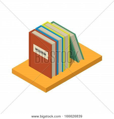 Stack of new 3d colorful books and tutorials on a bookshalf. Isometric flat classbooks and textbooks icon. Education symbol logo. Illustration vector art.