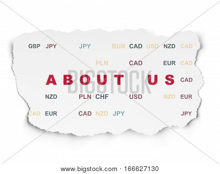 Business concept: Painted red text About us on Torn Paper background with  Currency
