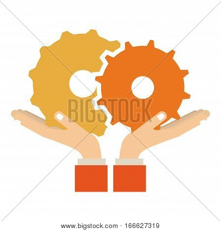 colorful sticker silhouette of hands holding a gear wheel icon vector illustration