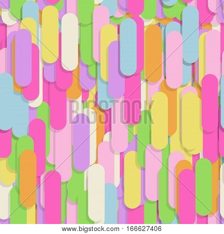Festive seamless pattern with confectionery sprinkling. Office note stickers random mess repeated texture of pink, yellow, purple color. Bright and colorful vector background.