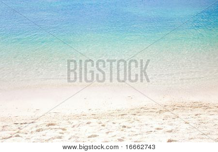 Summer beach background with clean sand and blue sky
