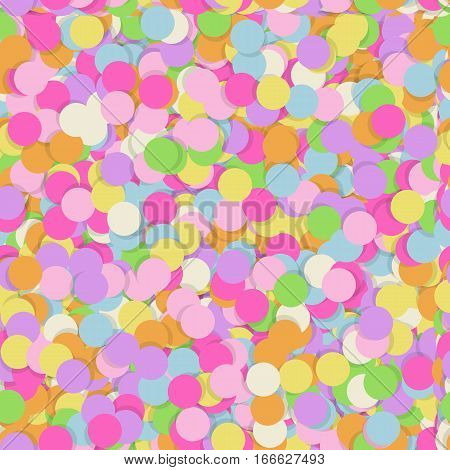 Festive seamless pattern with confectionery sprinkling. Random mess repeated texture of pink, yellow, purple color. Bright and colorful vector background.