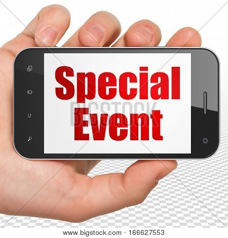 Business concept: Hand Holding Smartphone with red text Special Event on display, 3D rendering